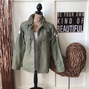 Levi's army green floral embroidered sleeve jacket